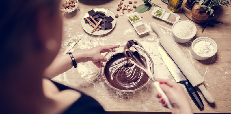 baking with chocolate